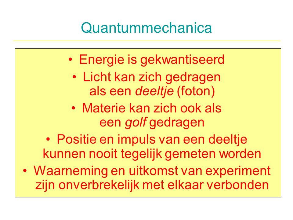 Quantummechanica Energie is gekwantiseerd Licht kan zich gedragen als een deeltje (foton) Materie kan zich ook als een golf gedragen Positie en impuls