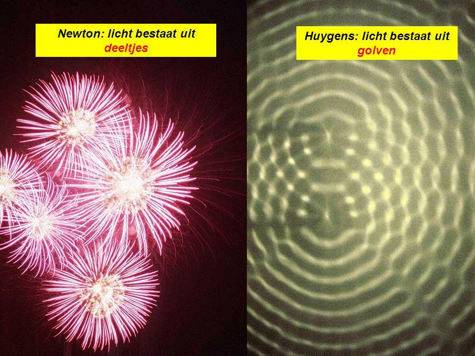 Experiment van Young 1800 Laat licht door 2 spleten op een scherm vallen Licht bestaat uit deeltjes (Newton) Licht bestaat uit golven (Huygens)