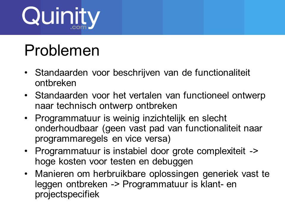 Problemen Standaarden voor beschrijven van de functionaliteit ontbreken Standaarden voor het vertalen van functioneel ontwerp naar technisch ontwerp ontbreken Programmatuur is weinig inzichtelijk en slecht onderhoudbaar (geen vast pad van functionaliteit naar programmaregels en vice versa) Programmatuur is instabiel door grote complexiteit -> hoge kosten voor testen en debuggen Manieren om herbruikbare oplossingen generiek vast te leggen ontbreken -> Programmatuur is klant- en projectspecifiek