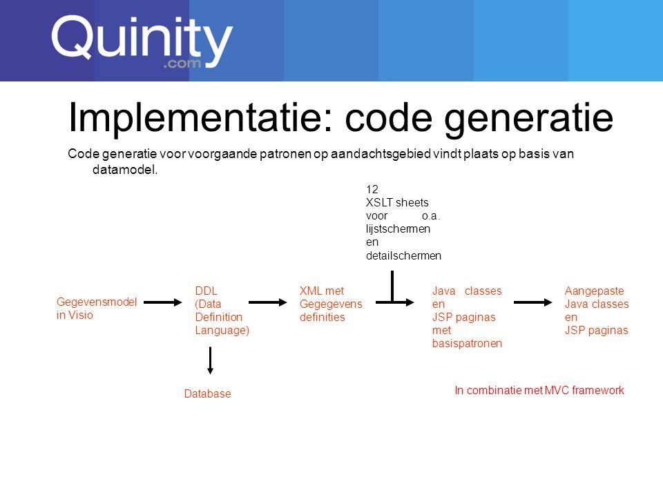 Implementatie: code generatie Gegevensmodel in Visio DDL (Data Definition Language) XML met Gegegevens definities 12 XSLT sheets voor o.a.