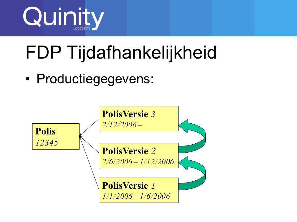 FDP Tijdafhankelijkheid Productiegegevens: Polis 12345 PolisVersie 1 1/1/2006 – 1/6/2006 PolisVersie 2 2/6/2006 – 1/12/2006 PolisVersie 3 2/12/2006 –