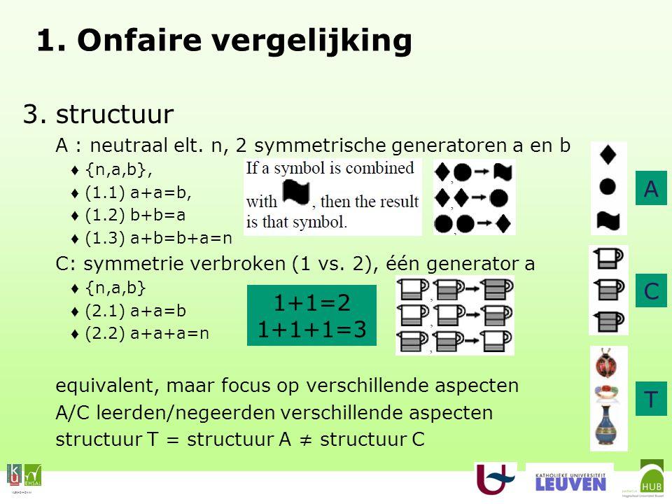 VLEKHO-HONIM 1. Onfaire vergelijking 3.structuur A : neutraal elt.