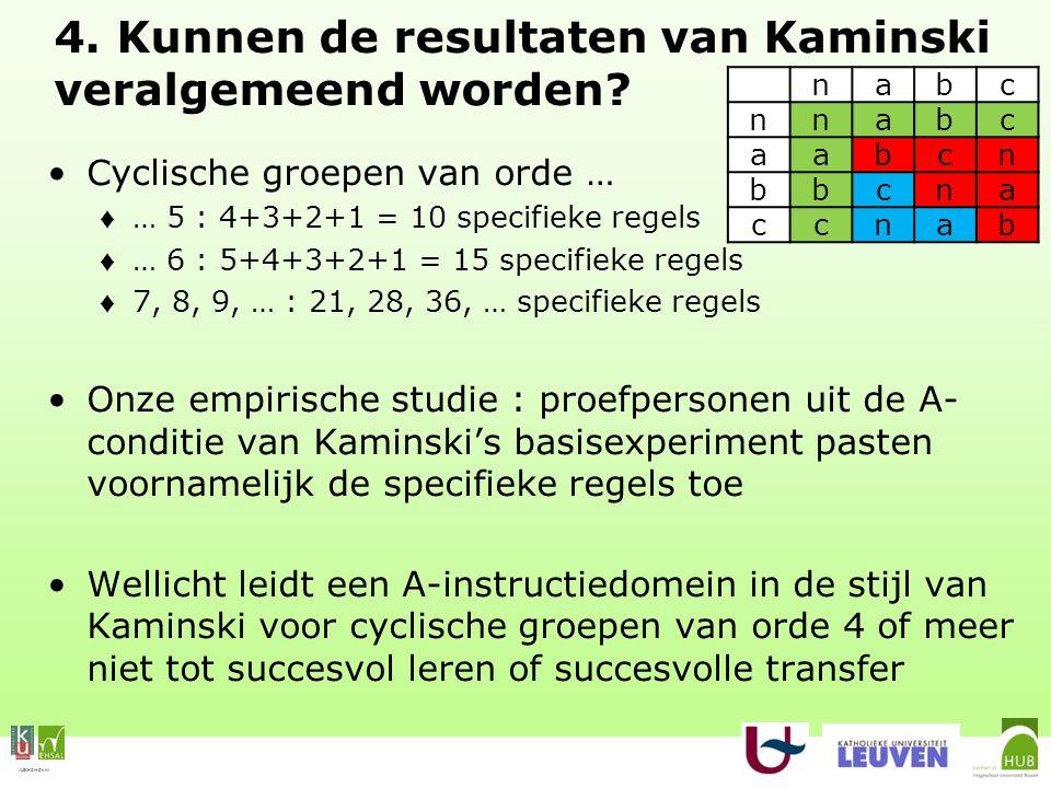 VLEKHO-HONIM 4. Kunnen de resultaten van Kaminski veralgemeend worden.