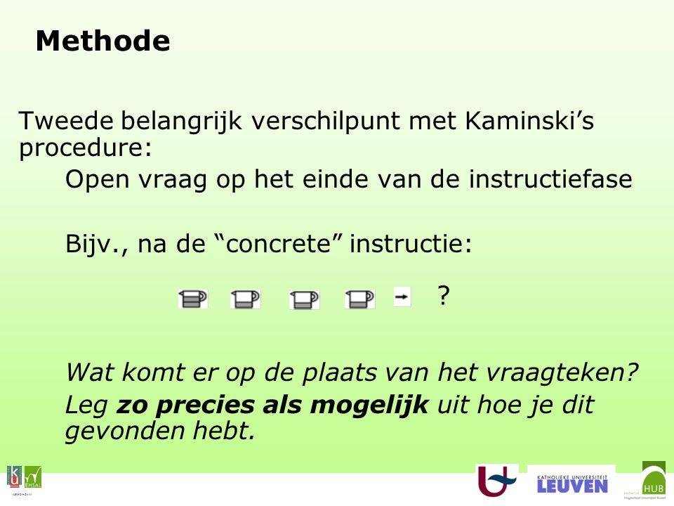 VLEKHO-HONIM Methode Tweede belangrijk verschilpunt met Kaminski's procedure: Open vraag op het einde van de instructiefase Bijv., na de concrete instructie: Wat komt er op de plaats van het vraagteken.