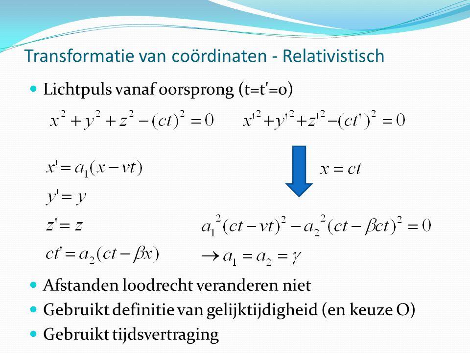 Transformatie van coördinaten - Relativistisch Lichtpuls vanaf oorsprong (t=t =0) Afstanden loodrecht veranderen niet Gebruikt definitie van gelijktijdigheid (en keuze O) Gebruikt tijdsvertraging