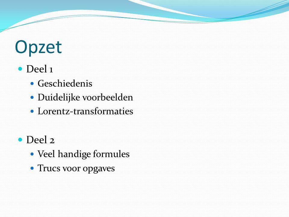 Opzet Deel 1 Geschiedenis Duidelijke voorbeelden Lorentz-transformaties Deel 2 Veel handige formules Trucs voor opgaves