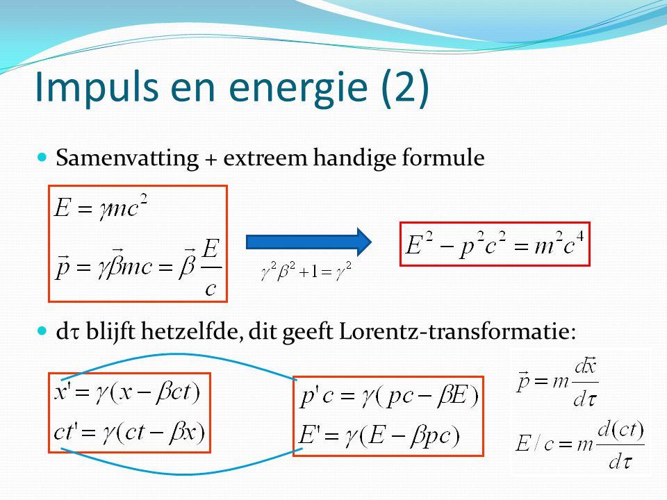 Impuls en energie (2) Samenvatting + extreem handige formule d  blijft hetzelfde, dit geeft Lorentz-transformatie: