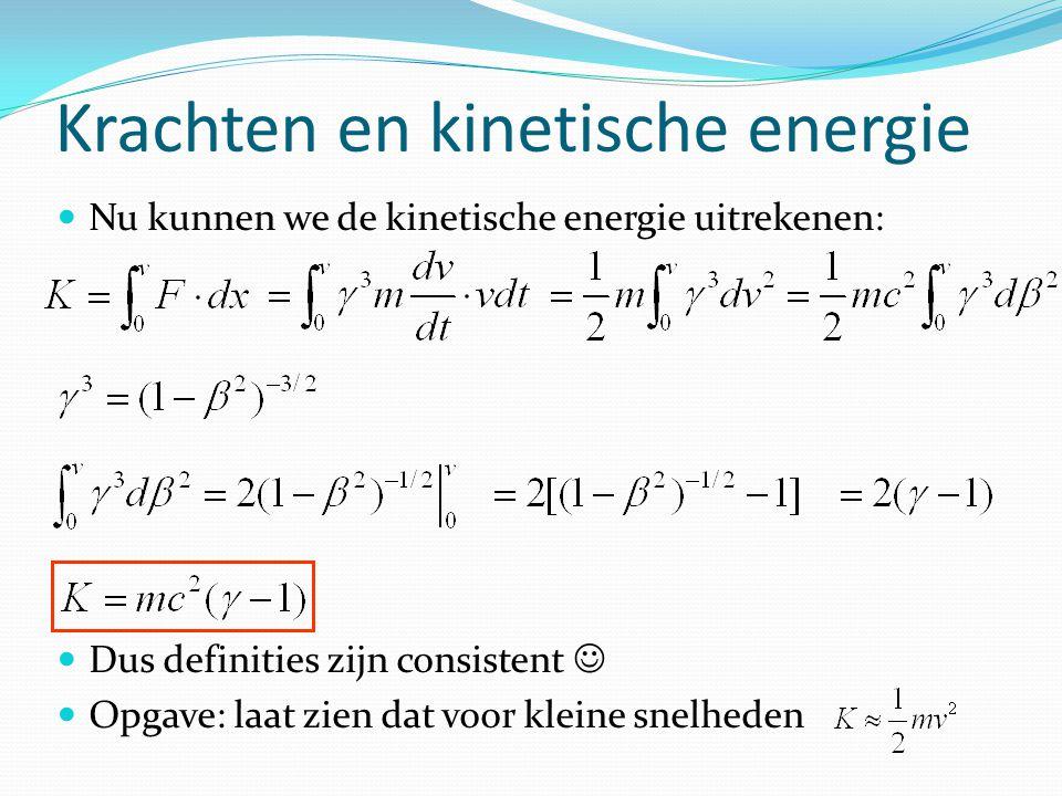 Krachten en kinetische energie Nu kunnen we de kinetische energie uitrekenen: Dus definities zijn consistent Opgave: laat zien dat voor kleine snelheden