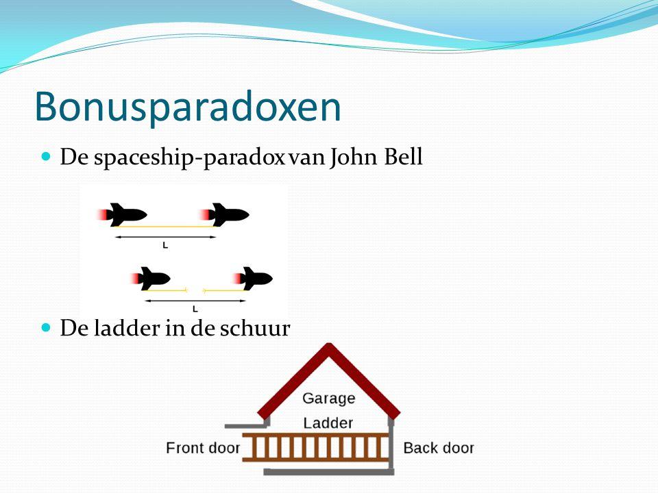 Bonusparadoxen De spaceship-paradox van John Bell De ladder in de schuur