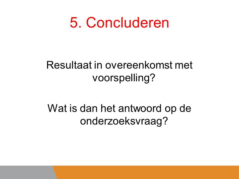 5.Concluderen Resultaat in overeenkomst met voorspelling.