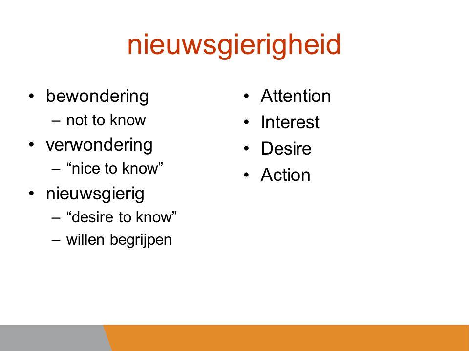 nieuwsgierigheid bewondering –not to know verwondering – nice to know nieuwsgierig – desire to know –willen begrijpen Attention Interest Desire Action