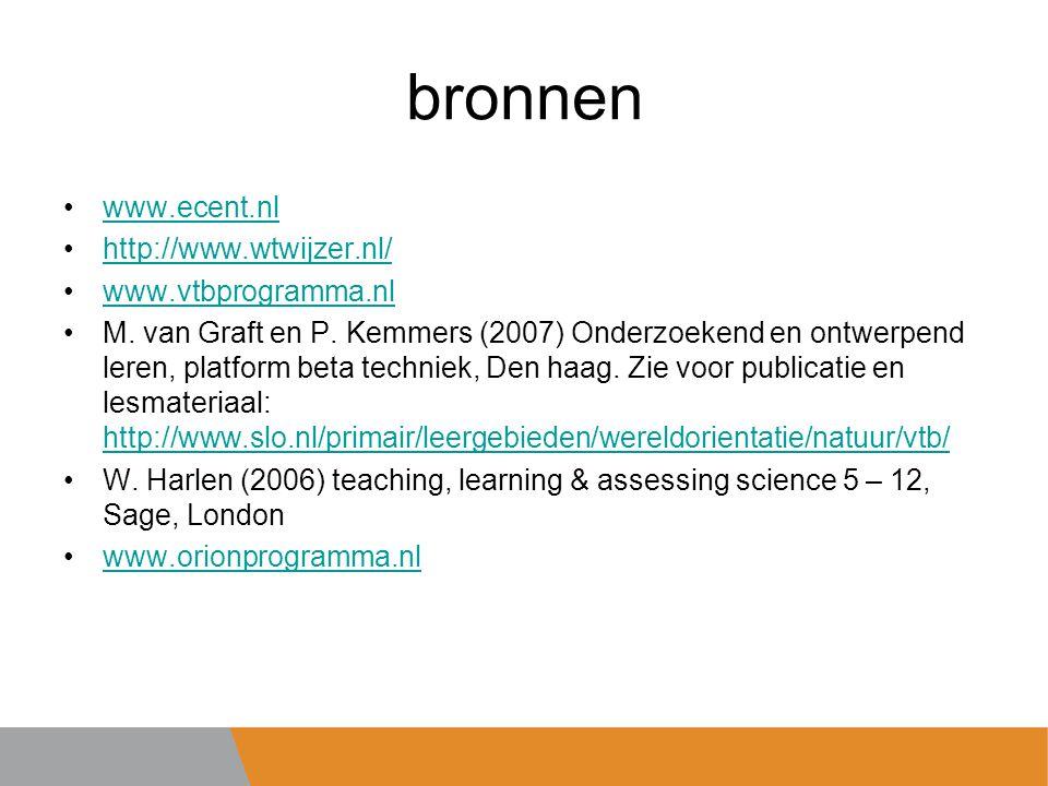 bronnen www.ecent.nl http://www.wtwijzer.nl/ www.vtbprogramma.nl M.