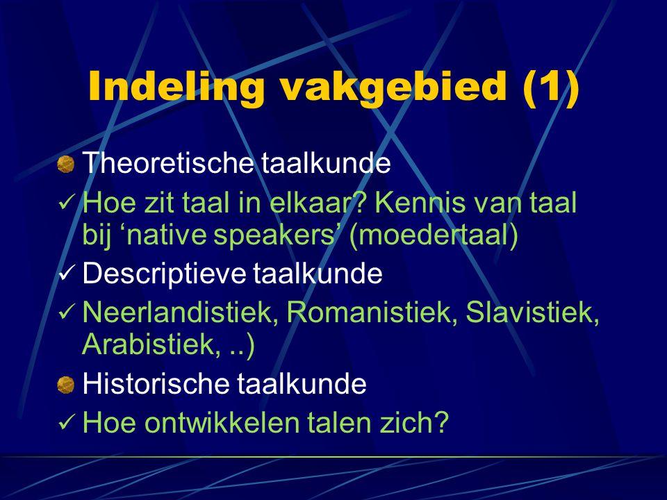 Indeling vakgebied (1) Theoretische taalkunde Hoe zit taal in elkaar.