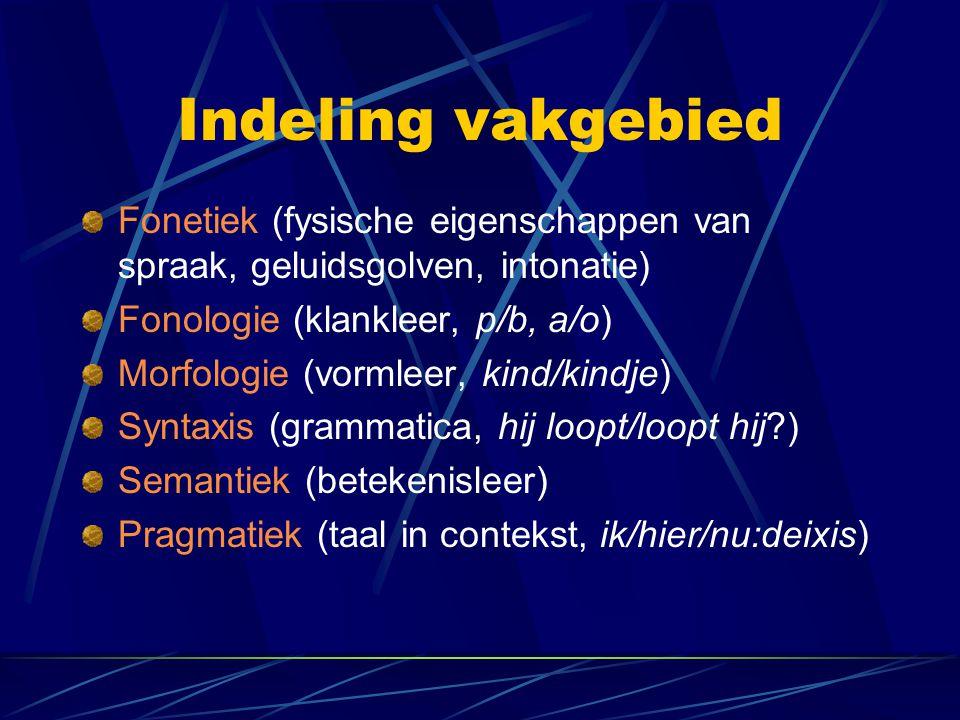 Indeling vakgebied Fonetiek (fysische eigenschappen van spraak, geluidsgolven, intonatie) Fonologie (klankleer, p/b, a/o) Morfologie (vormleer, kind/kindje) Syntaxis (grammatica, hij loopt/loopt hij?) Semantiek (betekenisleer) Pragmatiek (taal in contekst, ik/hier/nu:deixis)
