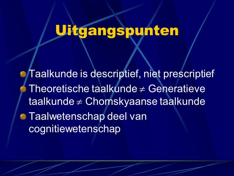 Uitgangspunten Taalkunde is descriptief, niet prescriptief Theoretische taalkunde  Generatieve taalkunde  Chomskyaanse taalkunde Taalwetenschap deel van cognitiewetenschap