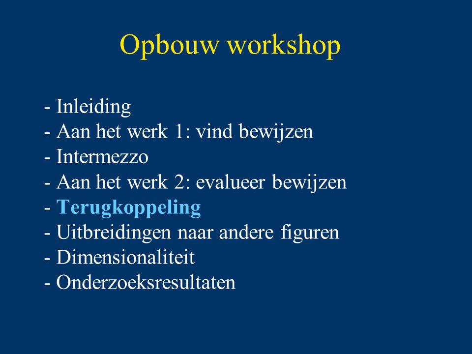 Opbouw workshop - Inleiding - Aan het werk 1: vind bewijzen - Intermezzo - Aan het werk 2: evalueer bewijzen - Terugkoppeling - Uitbreidingen naar andere figuren - Dimensionaliteit - Onderzoeksresultaten