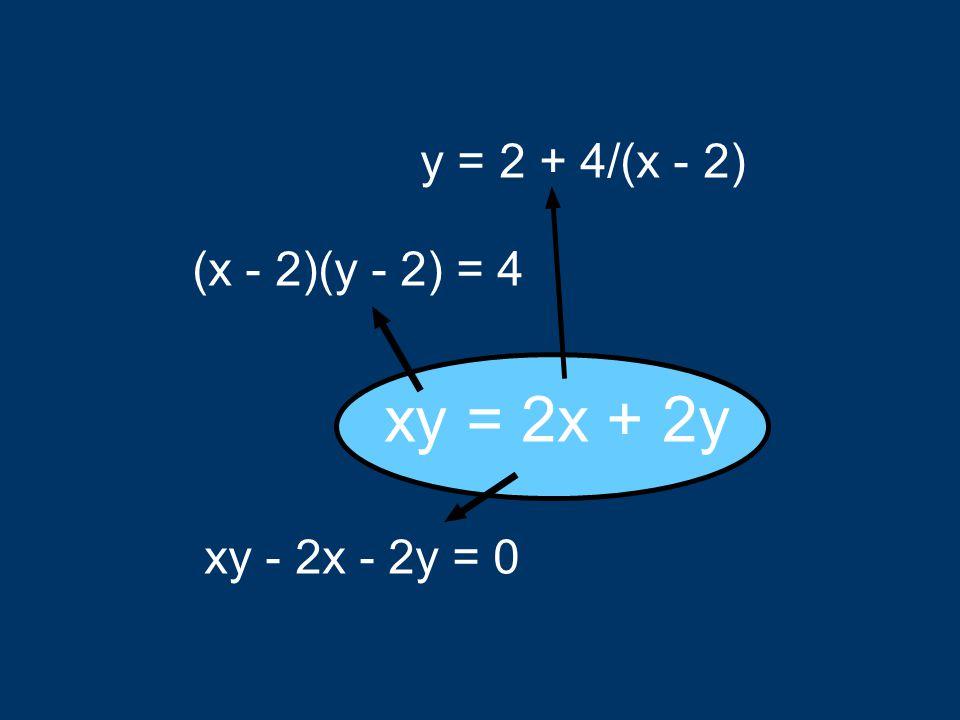 xy = 2x + 2y y = 2 + 4/(x - 2) (x - 2)(y - 2) = 4 xy - 2x - 2y = 0