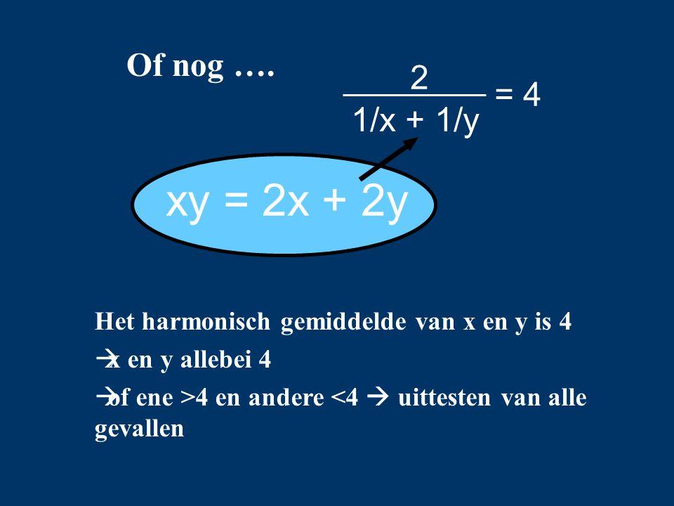 Of nog …. Het harmonisch gemiddelde van x en y is 4  x en y allebei 4  of ene >4 en andere <4  uittesten van alle gevallen xy = 2x + 2y = 4 1/x + 1
