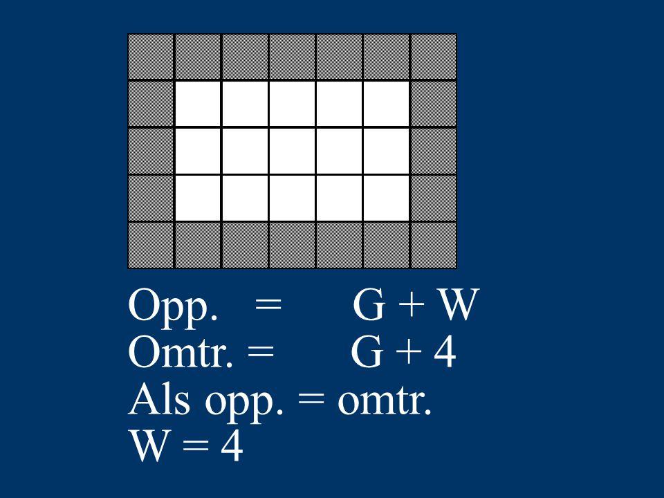 Opp. = G + W Omtr. = G + 4 Als opp. = omtr. W = 4