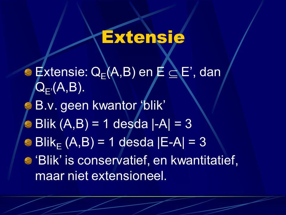Extensie Extensie: Q E (A,B) en E  E', dan Q E' (A,B).
