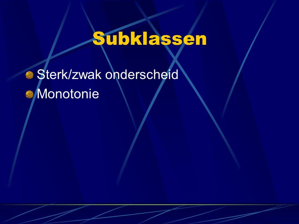 Subklassen Sterk/zwak onderscheid Monotonie