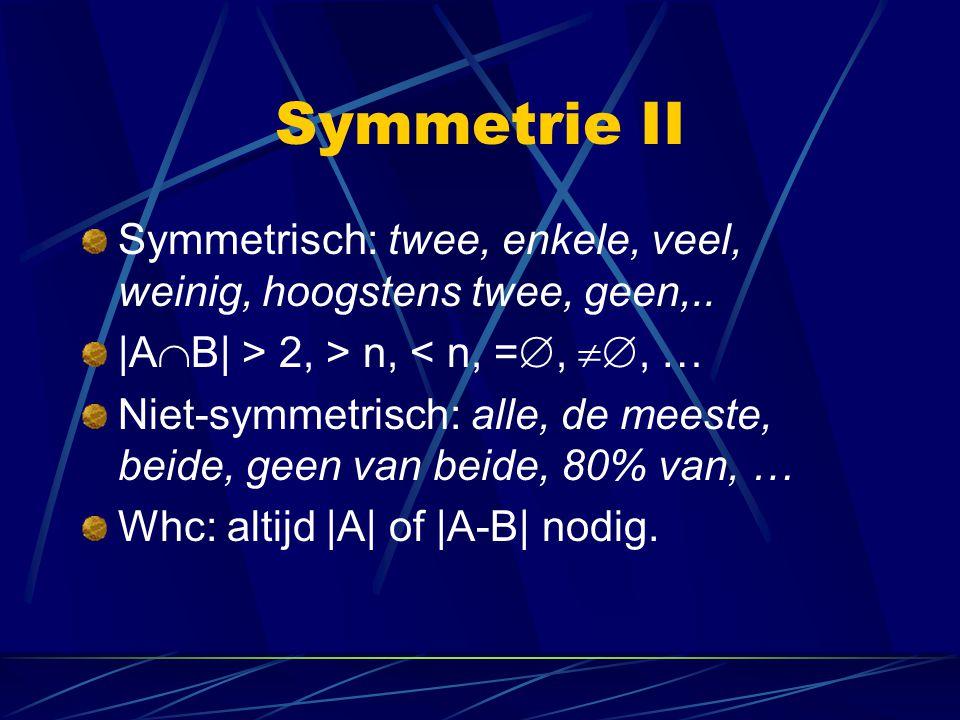 Symmetrie II Symmetrisch: twee, enkele, veel, weinig, hoogstens twee, geen,..