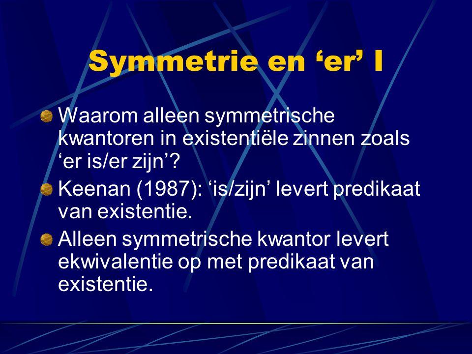 Symmetrie en 'er' I Waarom alleen symmetrische kwantoren in existentiële zinnen zoals 'er is/er zijn'.