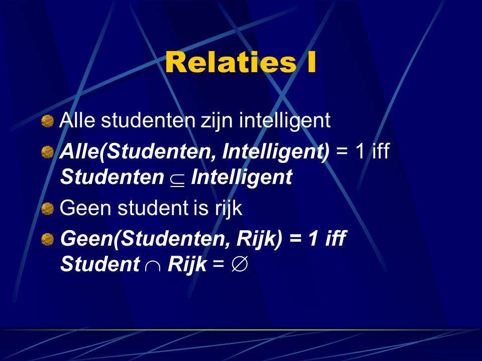 Relaties I Alle studenten zijn intelligent Alle(Studenten, Intelligent) = 1 iff Studenten  Intelligent Geen student is rijk Geen(Studenten, Rijk) = 1 iff Student  Rijk = 
