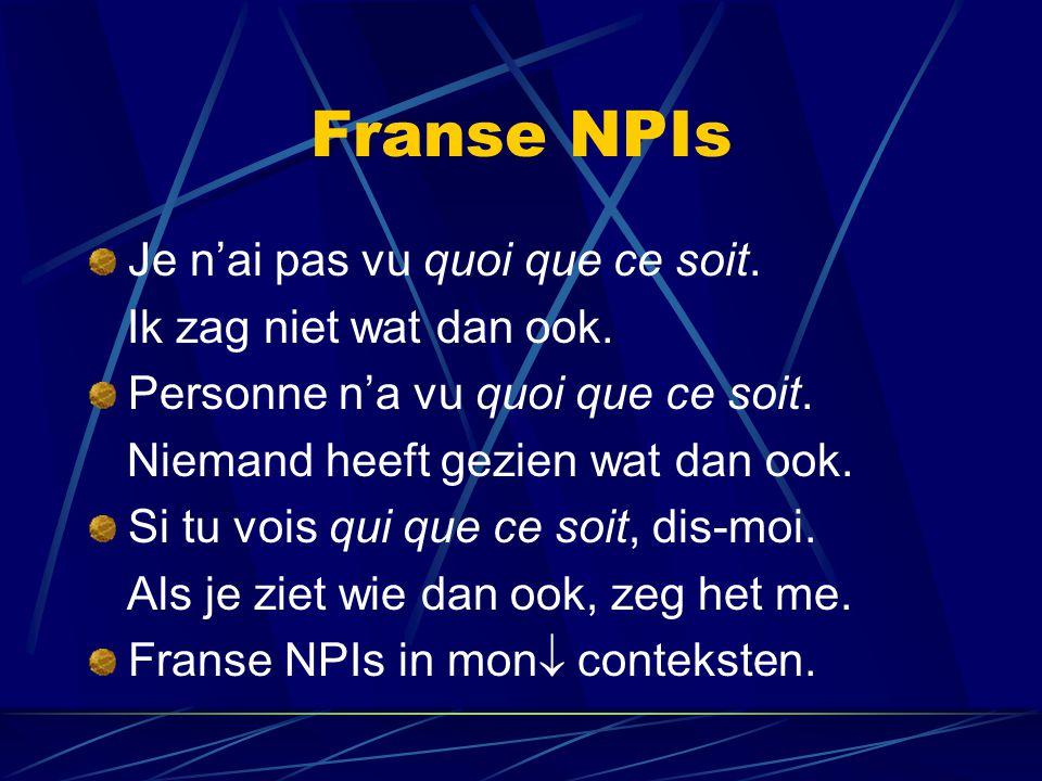 Franse NPIs Je n'ai pas vu quoi que ce soit.Ik zag niet wat dan ook.