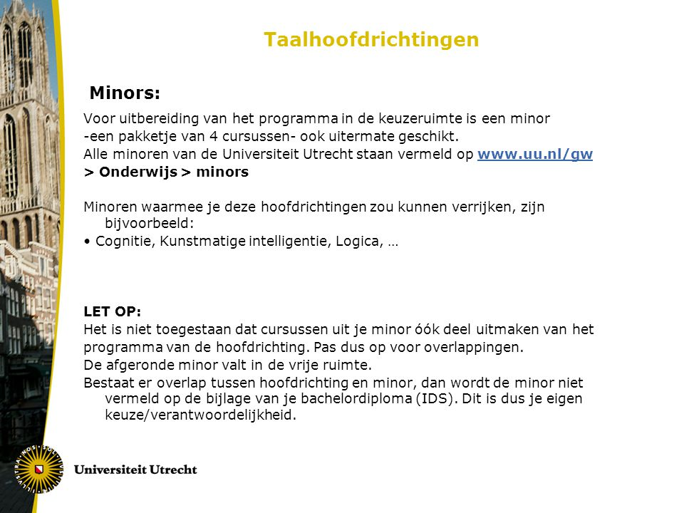 Taalhoofdrichtingen Minors: Voor uitbereiding van het programma in de keuzeruimte is een minor -een pakketje van 4 cursussen- ook uitermate geschikt.