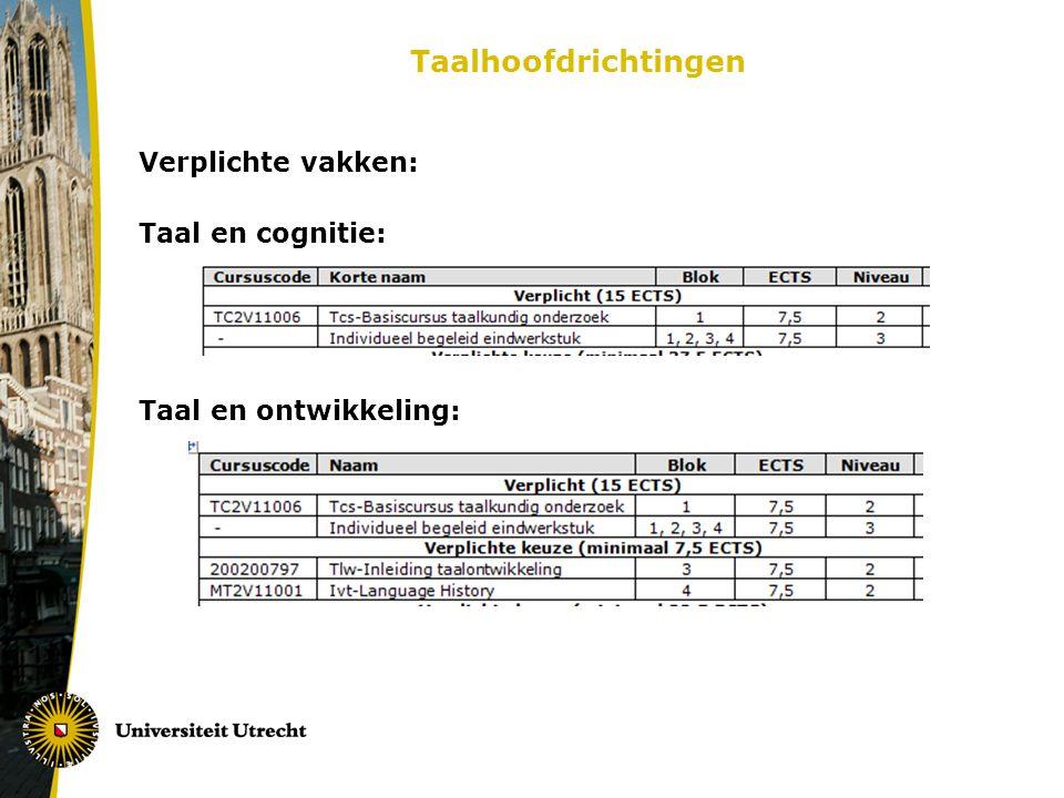 Taalhoofdrichtingen Verplichte vakken: Taal en cognitie: Taal en ontwikkeling: