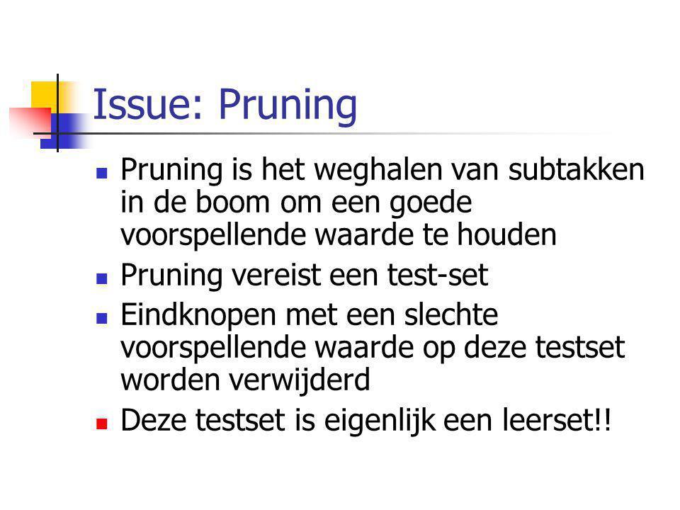 Issue: Pruning Pruning is het weghalen van subtakken in de boom om een goede voorspellende waarde te houden Pruning vereist een test-set Eindknopen me