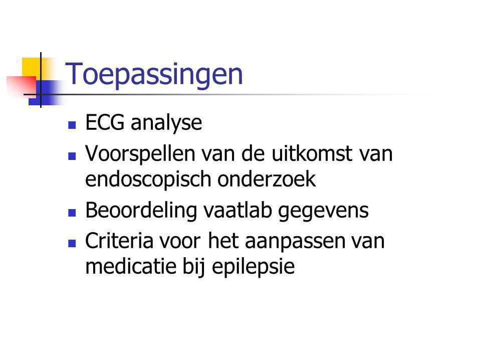 ECG analyse Voorspellen van de uitkomst van endoscopisch onderzoek Beoordeling vaatlab gegevens Criteria voor het aanpassen van medicatie bij epilepsi