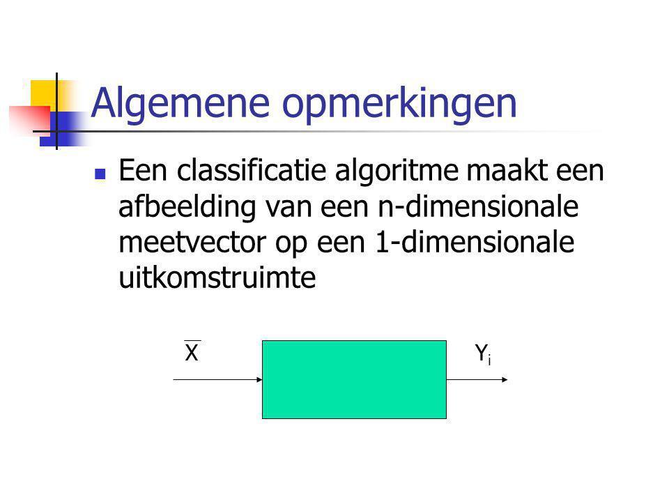 Algemene opmerkingen Een classificatie algoritme maakt een afbeelding van een n-dimensionale meetvector op een 1-dimensionale uitkomstruimte XYiYi