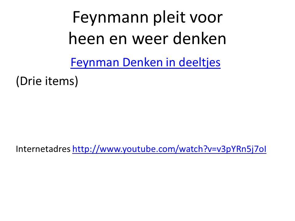 Feynmann pleit voor heen en weer denken Feynman Denken in deeltjes (Drie items) Internetadres http://www.youtube.com/watch?v=v3pYRn5j7oIhttp://www.youtube.com/watch?v=v3pYRn5j7oI