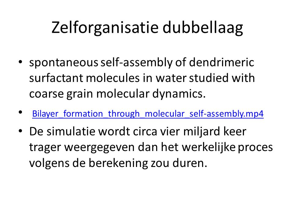 Zelforganisatie dubbellaag spontaneous self-assembly of dendrimeric surfactant molecules in water studied with coarse grain molecular dynamics. Bilaye