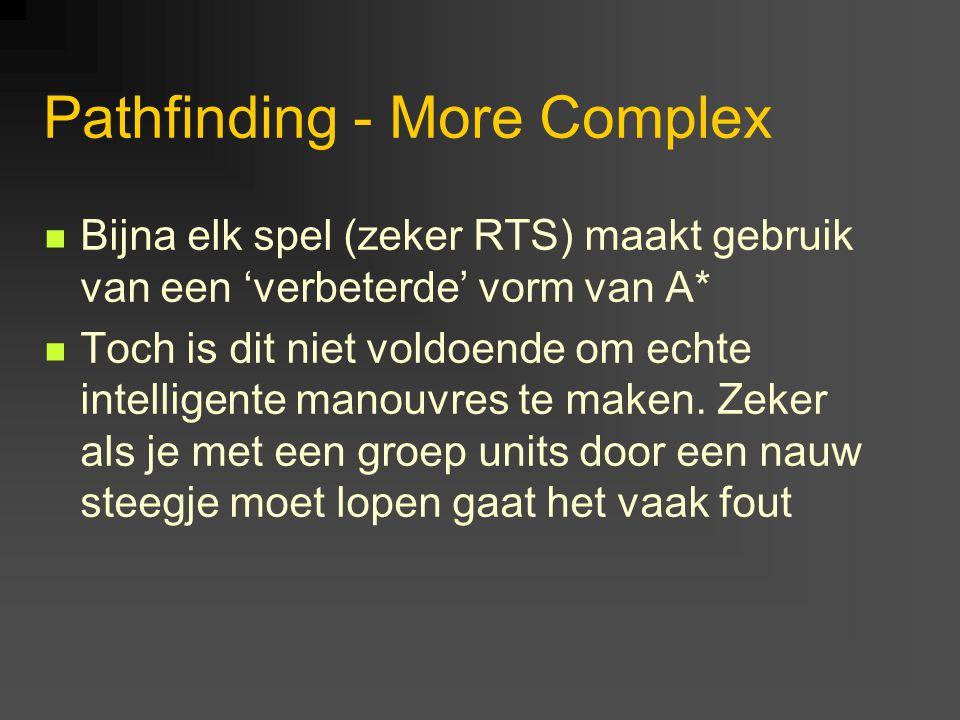 Pathfinding - More Complex Bijna elk spel (zeker RTS) maakt gebruik van een 'verbeterde' vorm van A* Toch is dit niet voldoende om echte intelligente manouvres te maken.