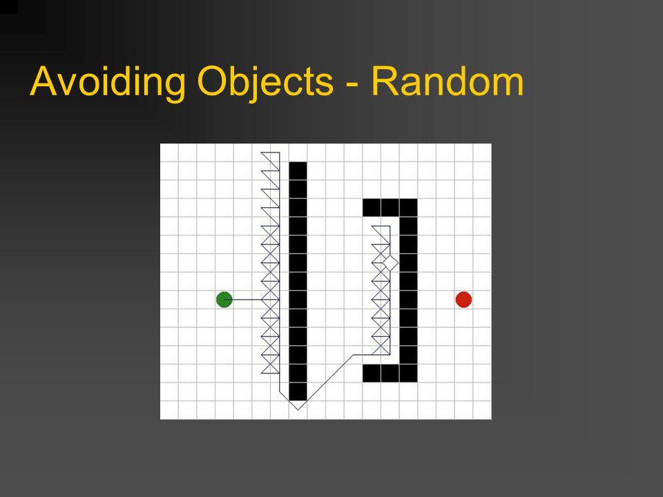 Avoiding Objects - Tracing Traceer een pad langs de randen van het object Zet je hand tegen de muur en loop er langs Werkt ook met grote en concave objecten Probleem: Wanneer stoppen met traceren Wanneer de richting waar je heen wilde weer toegankelijk is Als de muur ophoud