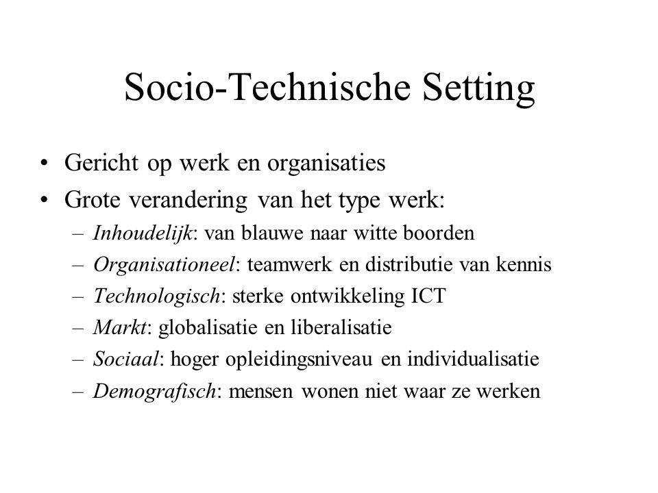 Socio-Technische Setting Gericht op werk en organisaties Grote verandering van het type werk: –Inhoudelijk: van blauwe naar witte boorden –Organisatio
