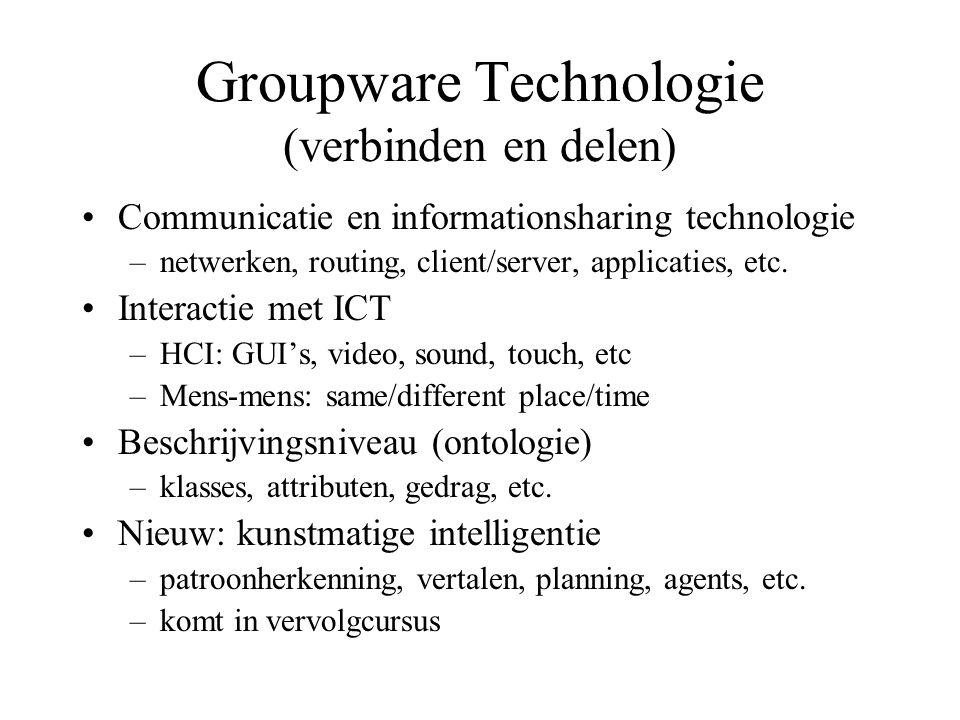 Groupware Technologie (verbinden en delen) Communicatie en informationsharing technologie –netwerken, routing, client/server, applicaties, etc. Intera