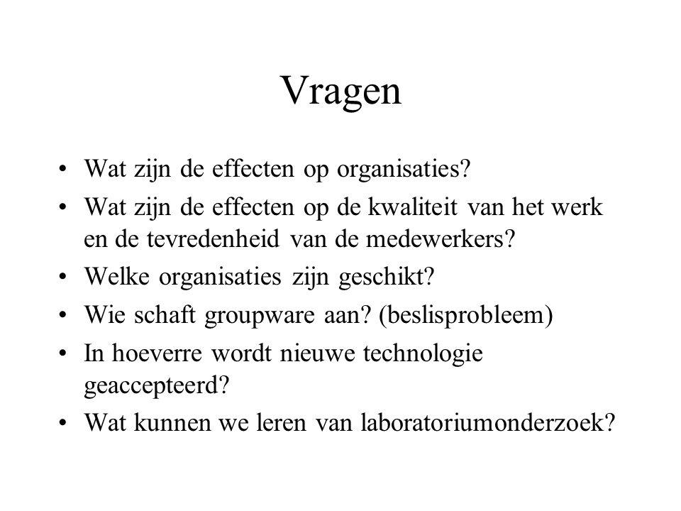 Vragen Wat zijn de effecten op organisaties? Wat zijn de effecten op de kwaliteit van het werk en de tevredenheid van de medewerkers? Welke organisati
