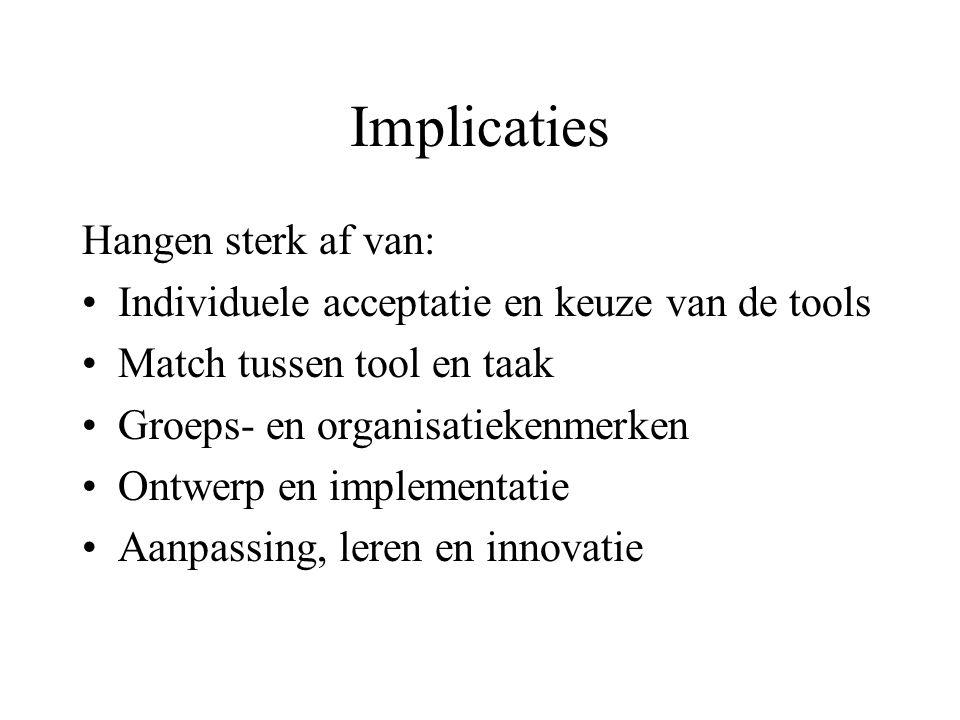 Implicaties Hangen sterk af van: Individuele acceptatie en keuze van de tools Match tussen tool en taak Groeps- en organisatiekenmerken Ontwerp en imp