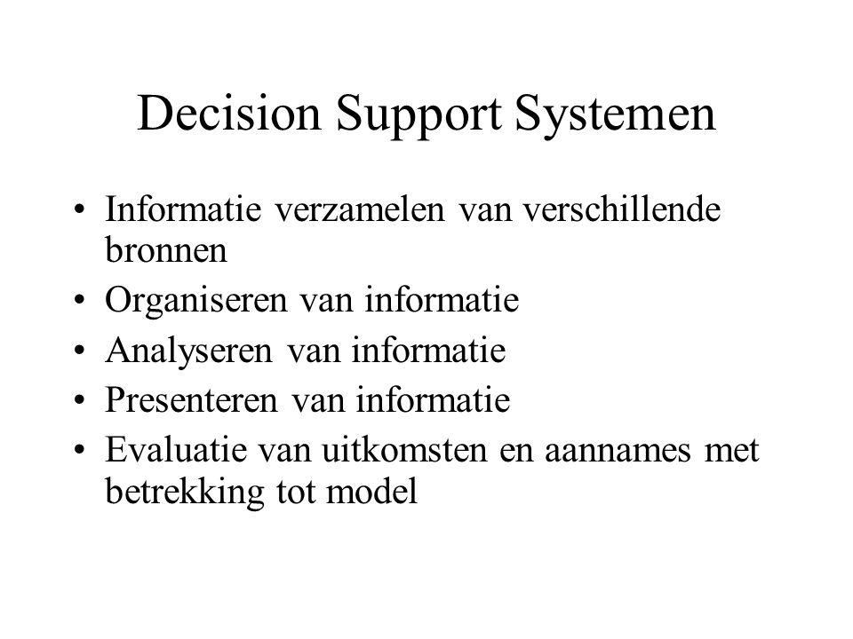 Decision Support Systemen Informatie verzamelen van verschillende bronnen Organiseren van informatie Analyseren van informatie Presenteren van informa