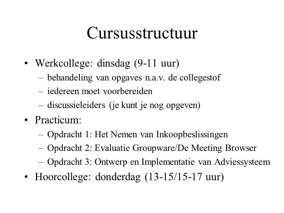 Cursusstructuur Werkcollege: dinsdag (9-11 uur) –behandeling van opgaves n.a.v. de collegestof –iedereen moet voorbereiden –discussieleiders (je kunt