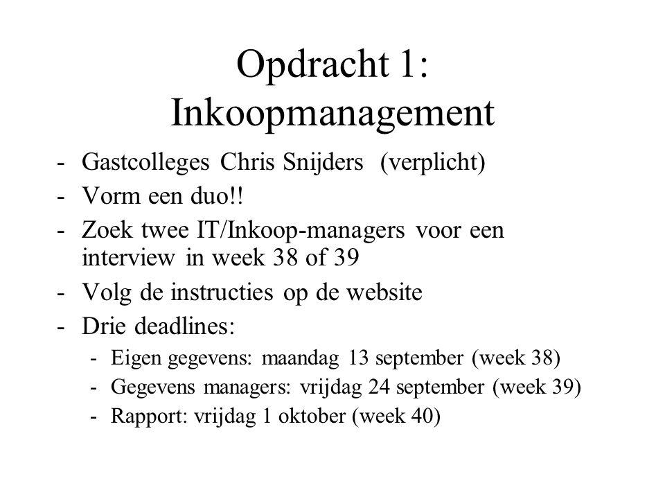 Opdracht 1: Inkoopmanagement -Gastcolleges Chris Snijders (verplicht) -Vorm een duo!! -Zoek twee IT/Inkoop-managers voor een interview in week 38 of 3