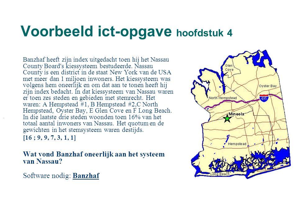 Voorbeeld ict-opgave hoofdstuk 4 Banzhaf heeft zijn index uitgedacht toen hij het Nassau County Board's kiessysteem bestudeerde. Nassau County is een