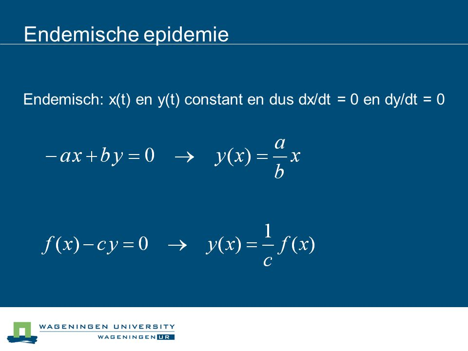 Endemische epidemie Endemisch: x(t) en y(t) constant en dus dx/dt = 0 en dy/dt = 0