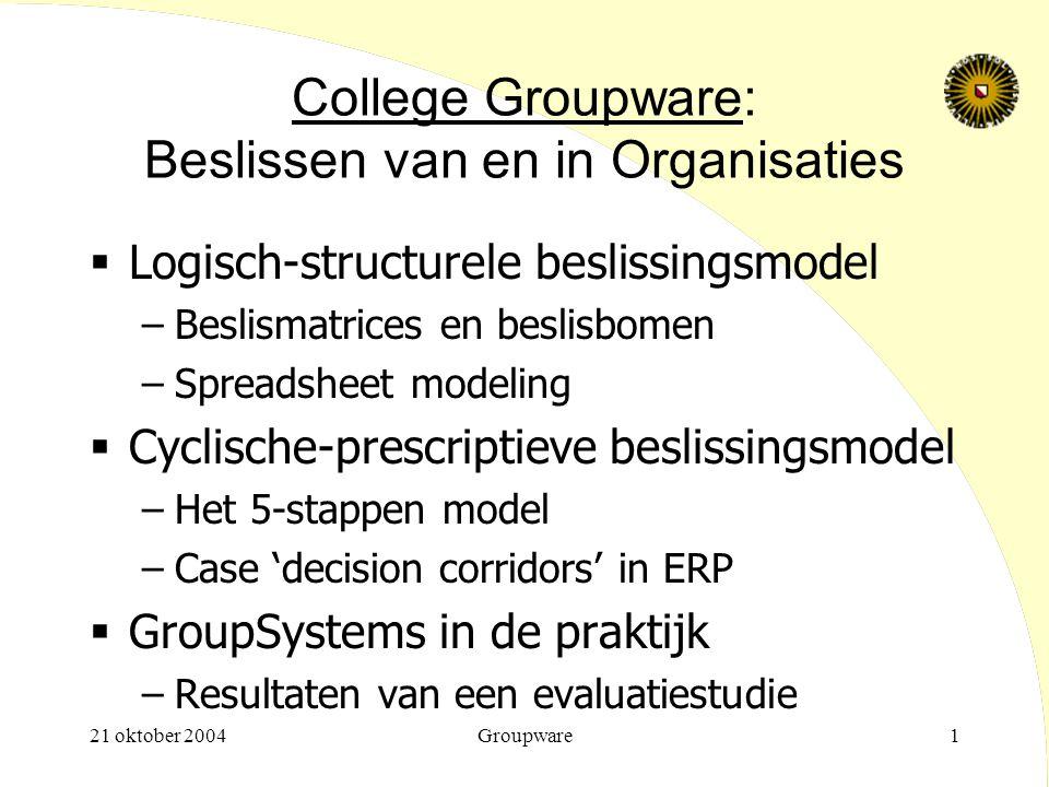 21 oktober 2004Groupware1 College Groupware: Beslissen van en in Organisaties  Logisch-structurele beslissingsmodel –Beslismatrices en beslisbomen –S