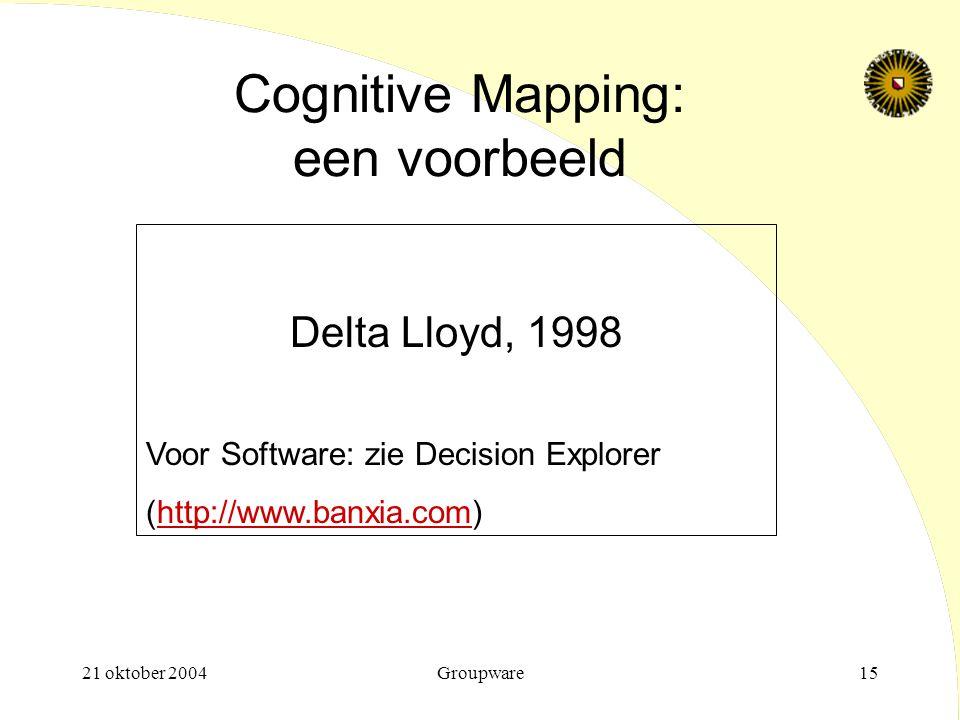 21 oktober 2004Groupware15 Cognitive Mapping: een voorbeeld Delta Lloyd, 1998 Voor Software: zie Decision Explorer (http://www.banxia.com)http://www.b
