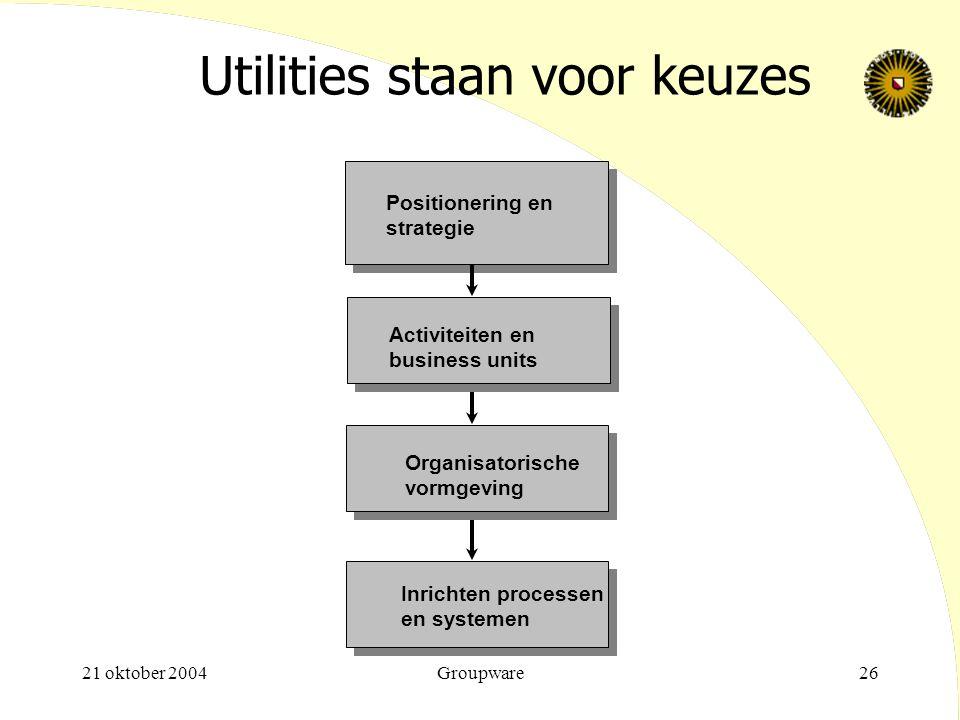 21 oktober 2004Groupware26 Utilities staan voor keuzes Positionering en strategie Activiteiten en business units Organisatorische vormgeving Inrichten